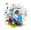 Boy reading education book on white a young is a with school icons such as math formulas animals and nature objects around him for Stock Images