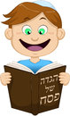 Boy reading from haggadah for passover vector illustration of a on Royalty Free Stock Image