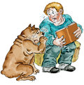 Boy reading a sad book together with his dog comic illustration Royalty Free Stock Photography