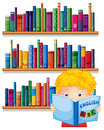A boy reading with a wooden shelves at the back illustration of on white background Stock Images