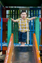 Boy ready to slide slide Stock Images