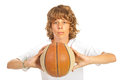 Boy ready to throw basketball blond adolescent isolated on white background Stock Photos