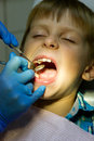 Boy on reception at the dentist years old Stock Photo