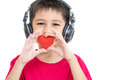 A boy and red heart Royalty Free Stock Photo