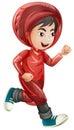 Boy in red raincoat running