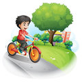 A boy with a red shirt biking illustration of on white background Stock Photo