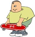 Boy with a red skateboard this illustration depicts holding Royalty Free Stock Image
