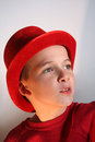 Boy In Red Top Hat Stock Photo