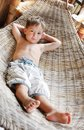 Boy relaxing in hammock Royalty Free Stock Photography