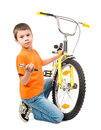 Boy repair bicycle isolated on white Stock Photo