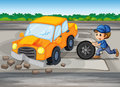 A boy repairing a car at the pedestrian lane illustration of Stock Photo
