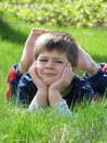 The boy is resting Royalty Free Stock Photo