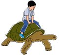 Boy ride tortoise Royalty Free Stock Photo