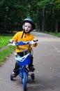 Boy riding bicycle Royalty Free Stock Image