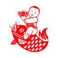 Boy riding a carp chinese new year postcard with chubby Stock Photos