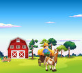 A boy riding on a carriage with a barn at the back illustration of Royalty Free Stock Photos