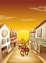 A boy riding in a horse outside the saloon illustration of Royalty Free Stock Photography