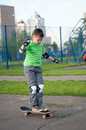 Boy riding a skateboard Royalty Free Stock Photography