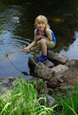 Boy on river Stock Photography