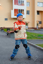 Boy on roller skates Royalty Free Stock Images