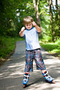Boy on rollerblades Royalty Free Stock Photo