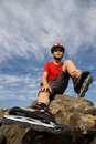 Boy in the rollerblades Royalty Free Stock Photo