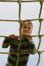 Boy on the ropes Royalty Free Stock Image