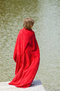 Boy Running Around in Red Towel Royalty Free Stock Photo