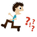 Boy running away from question marks vector illustration of a Royalty Free Stock Images
