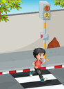 A boy running while crossing the street illustration of Royalty Free Stock Images