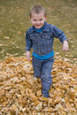 Boy running in leaves Stock Photo