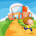 A boy running and a lion near the school illustration of Royalty Free Stock Photos