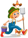 A boy running with a pail of feeds and a rake illustration on white background Stock Images