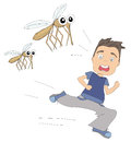 Boy runs away from mosquitoes illustration Stock Images