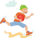 A boy runs with a red ball Royalty Free Stock Photos