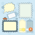 Boy s frame and tags collection for scrapbook Royalty Free Stock Images