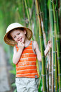 Boy in safari hat Royalty Free Stock Photo