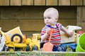 Boy in sandbox Royalty Free Stock Photos