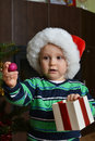 Boy in santa cap Royalty Free Stock Photo