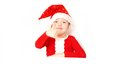 Boy santa claus on a white background Stock Photos