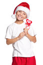 stock image of  Boy in Santa hat