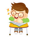 The boy sat down on the chair fell asleep on a desk education and life character design series Royalty Free Stock Photos