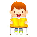 The boy sat down on the chair is reading a book on the desk ed education and life character design series Royalty Free Stock Image
