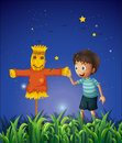 A boy and a scarecrow at the ricefield illustration of Royalty Free Stock Images
