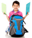 Boy with a school bag Royalty Free Stock Photo