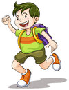 A boy with school bag illustration of on white background Stock Images