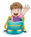 A boy in the school bag illustration of on white background Stock Image