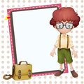 Boy school bag and white board illustration of a a a Royalty Free Stock Photo