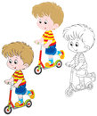 Boy scooterist little riding on a scooter three versions of the illustration Stock Image