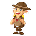 Boy scout cartoon carrying backpack